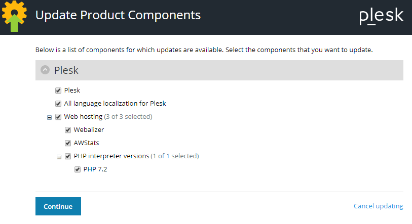 plesk update product components