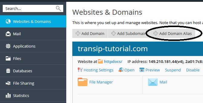 plesk websites & domains add alias