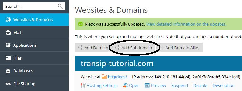 Plesk add subdomain