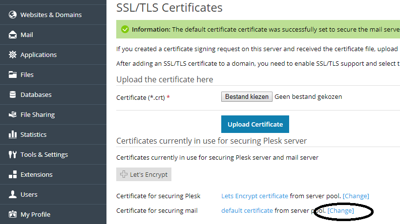 Plesk change SSL for mail button