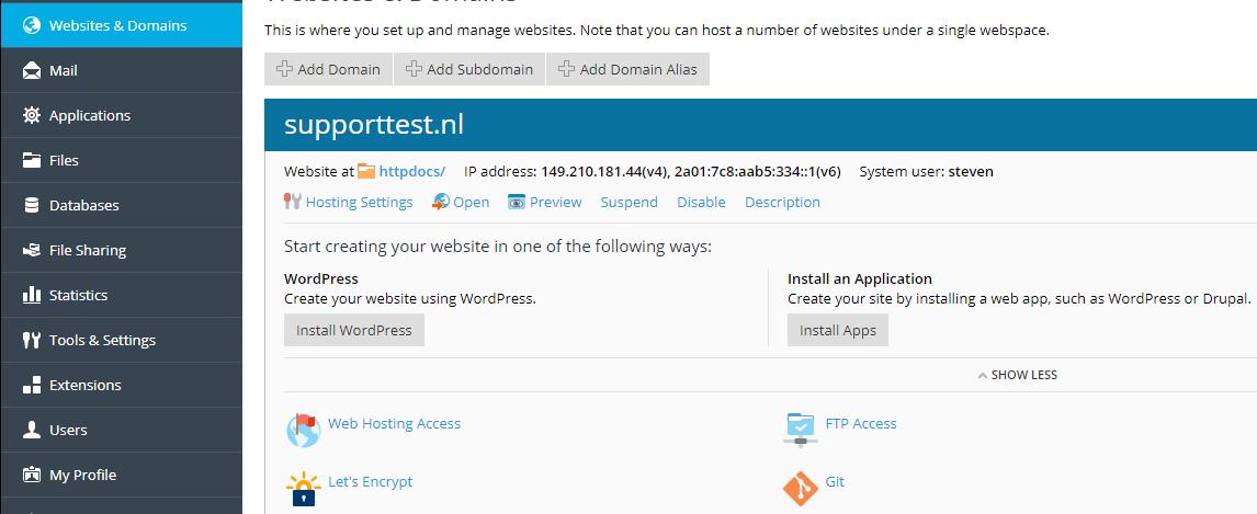 plesk hosting settings button