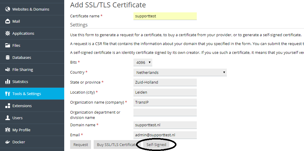 Plesk add SSL certificate settings