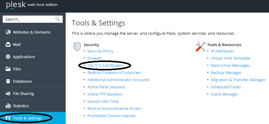 Plesk tools and settings SSL menu