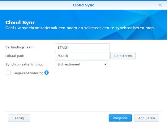 cloudsync naam en map selecteren