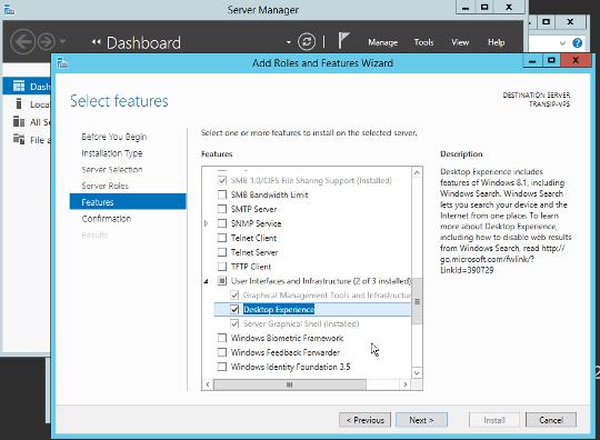 afbeelding van de Desktop Experience installeren