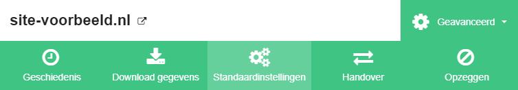 Klik op 'Standaardinstellingen'