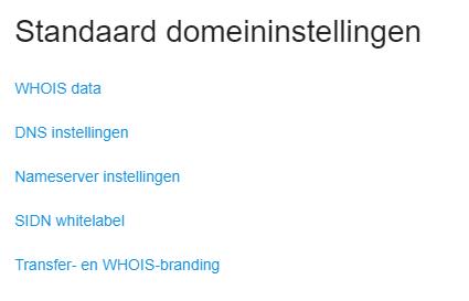 Jouw Standaard domeininstellingen