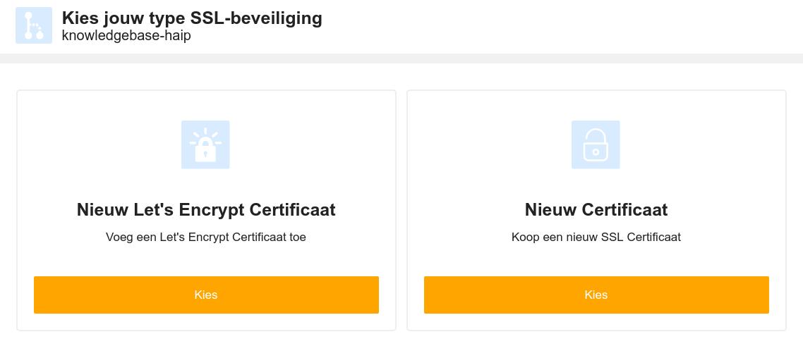 Kies een nieuw certificaat