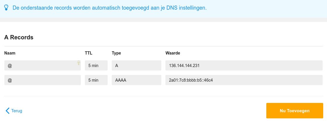 Voeg de DNS records toe voor jouw domein