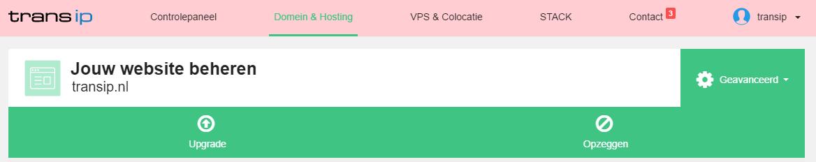 afbeelding van de upgrade knop van een webhostingspakket.