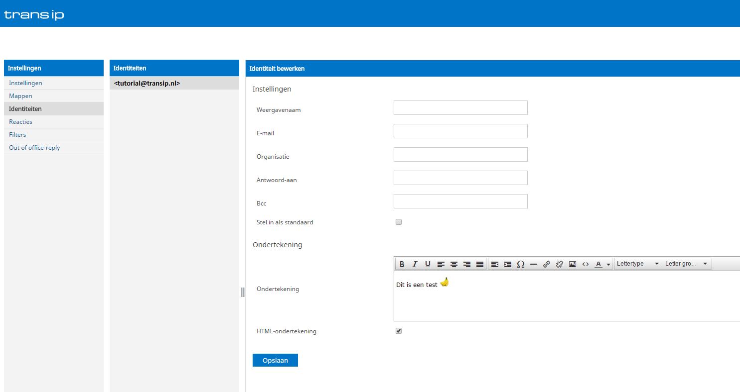 afbeelding van webmail identiteit en handtekening