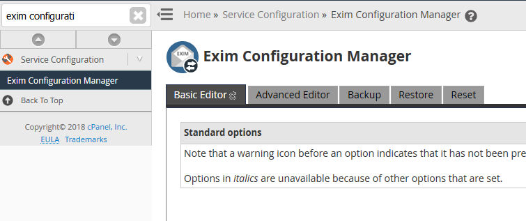 cpanel exim configuration manager