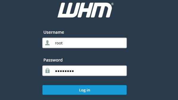 WHM login pagina