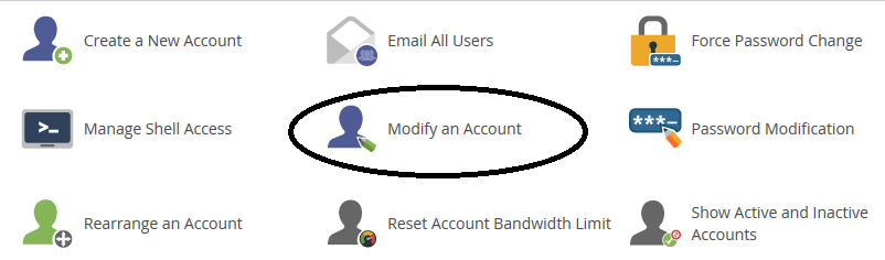 whm modify account