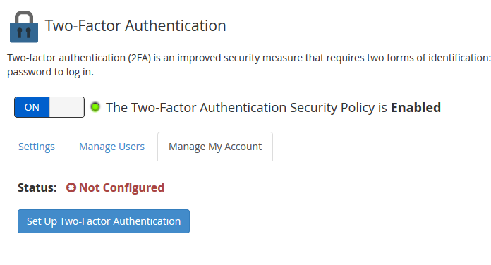 whm set up two factor authentication