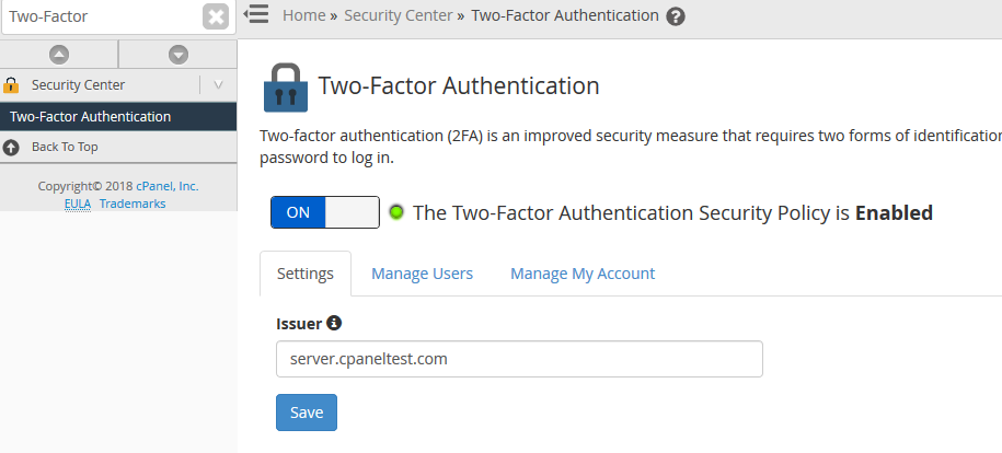 whm enable two factor authentication