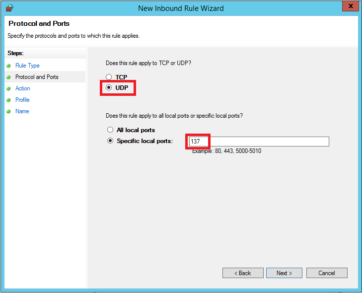 windows firewall inbound protocol and port