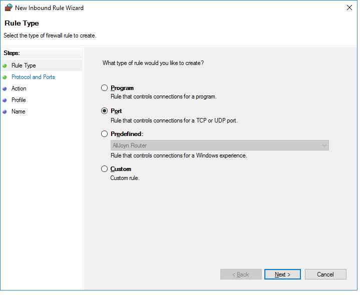 windows firewall inbound rule port