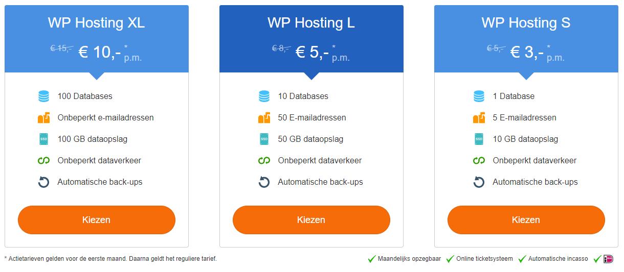 Kies het gewenste WordPress Hosting pakket