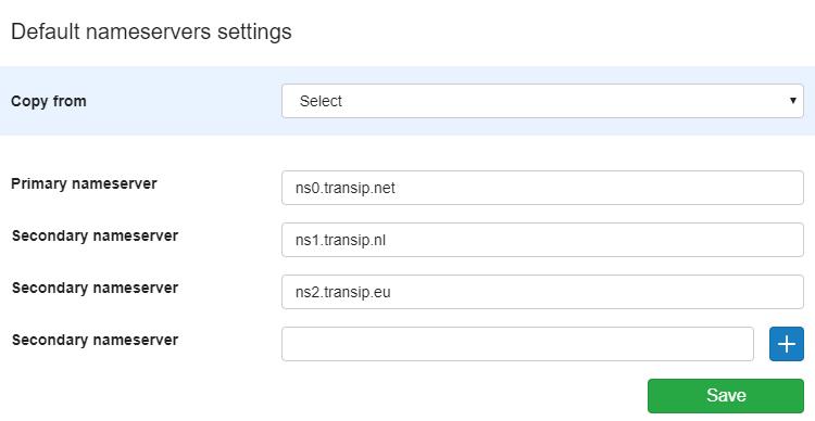 Your default nameserver settings