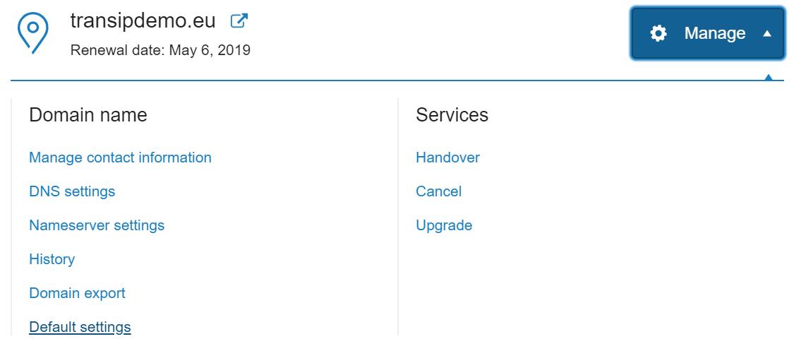 Select default domain settings