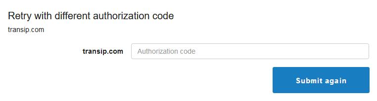 domain retry auth code