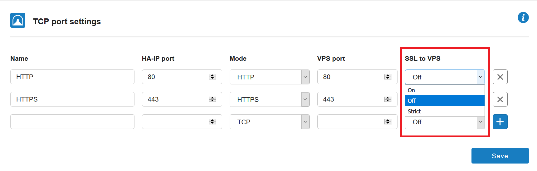 ha-ip tcp port settings ssl options