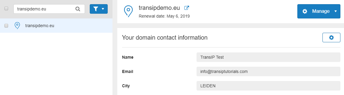 View your domain's contact information