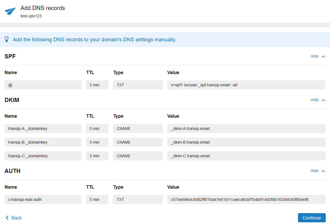 vps mailservice dns records