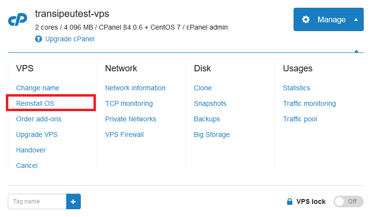 vps manage - reinstall