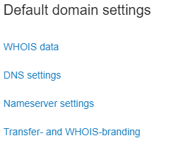 click on transfer and whois branding