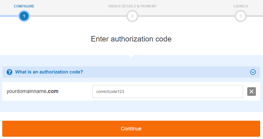 enter your authorization code