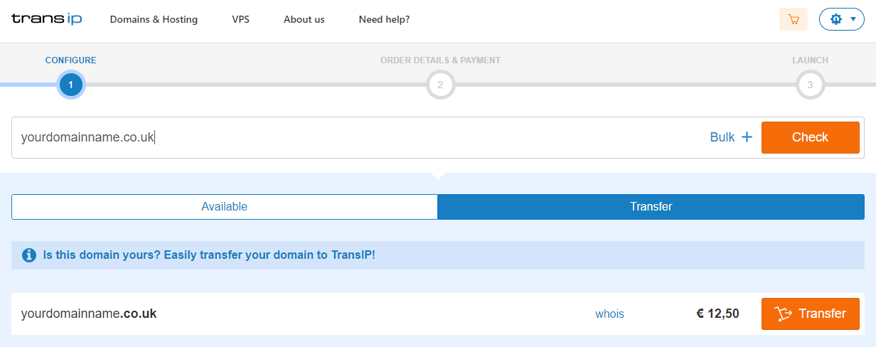 request the transfer of your .uk domain name