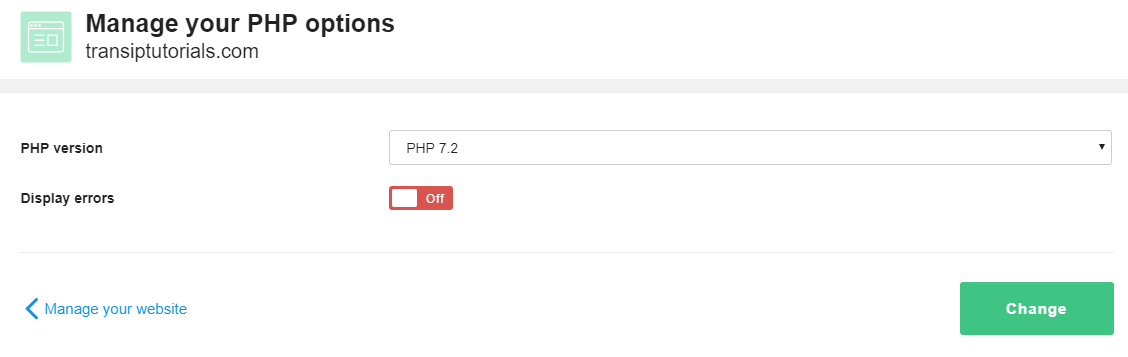 Select the desired PHP version and click Change
