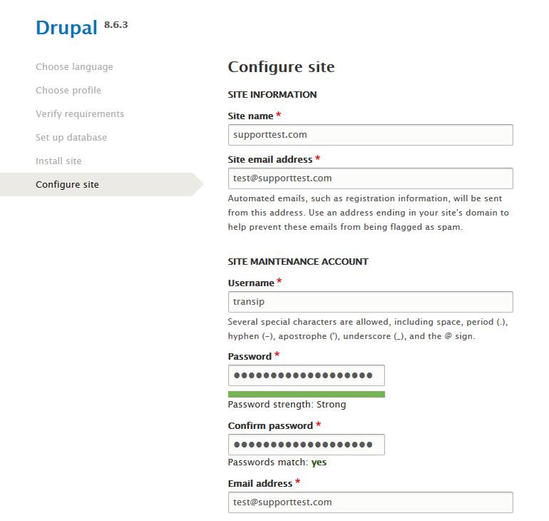 drupal configure site