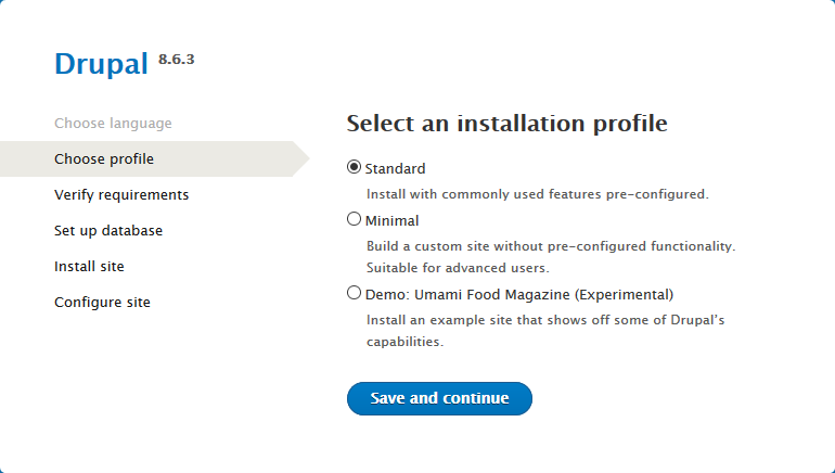 drupal select installation profile