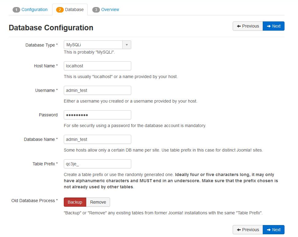 joomla wizard database configuration
