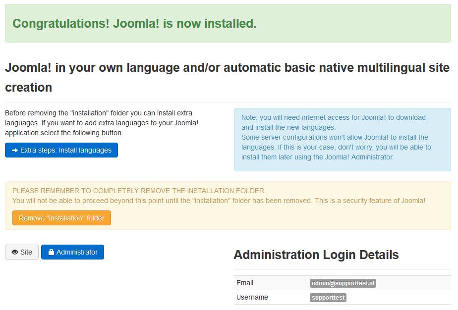 joomla installed