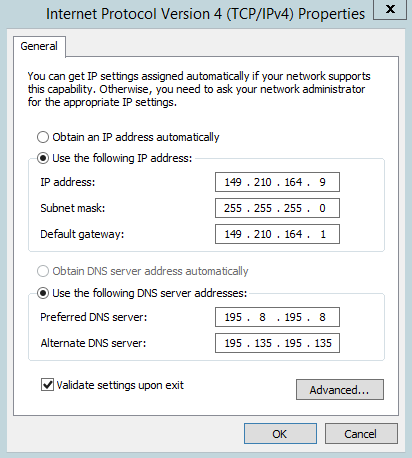 server 2012 ipv4 properties 2 ips
