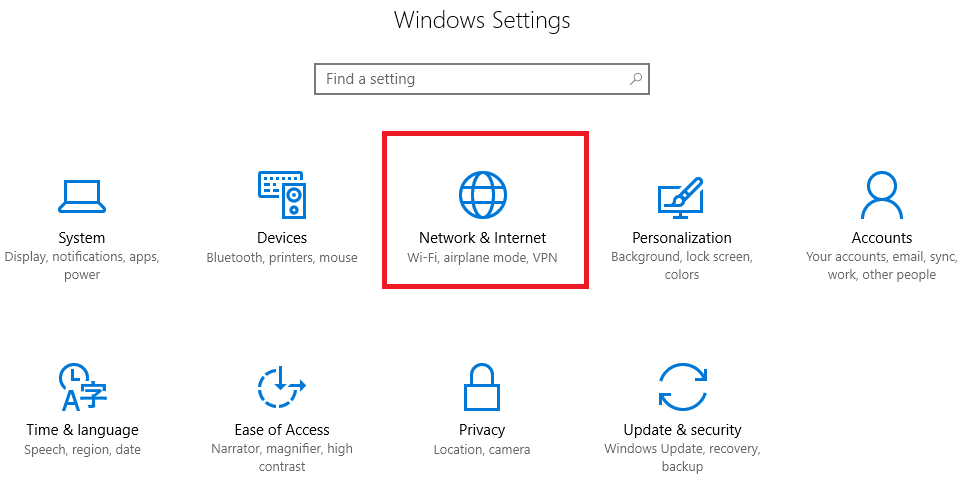 server 2016 settings network & internet