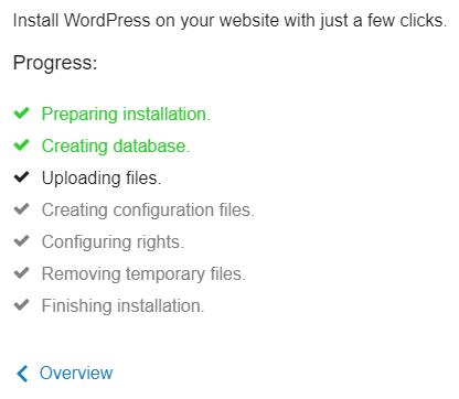 Progress wordpress install