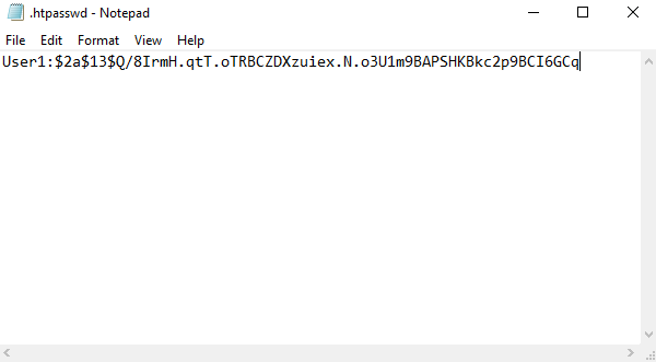 create a htpasswd file