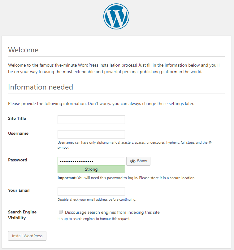 Configure wordpress after visiting your domain name