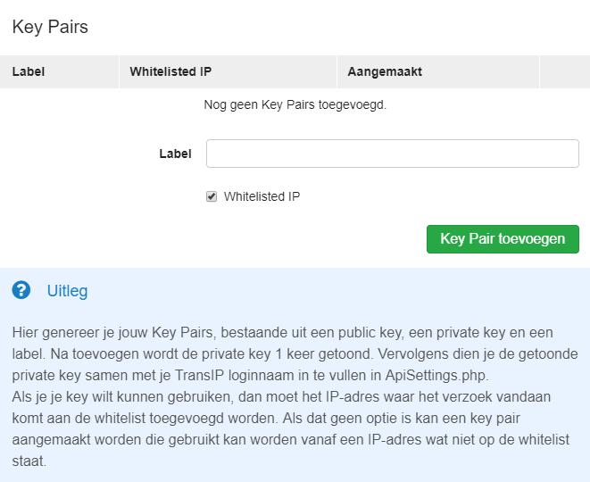 genereer key pairs