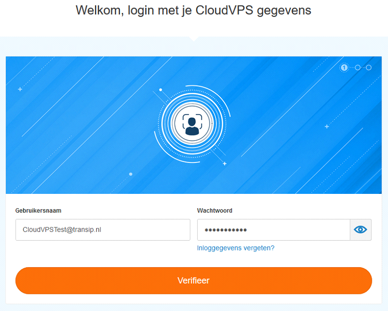 log in met je CloudVPS gegevens