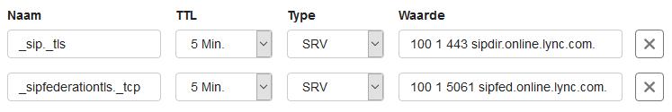 Volledige SRV records voor Office365