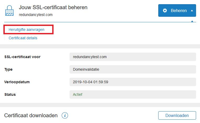 ssl certificaat beheren - heruitgifte