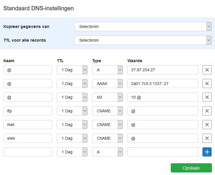 Standaard DNS-instellingen