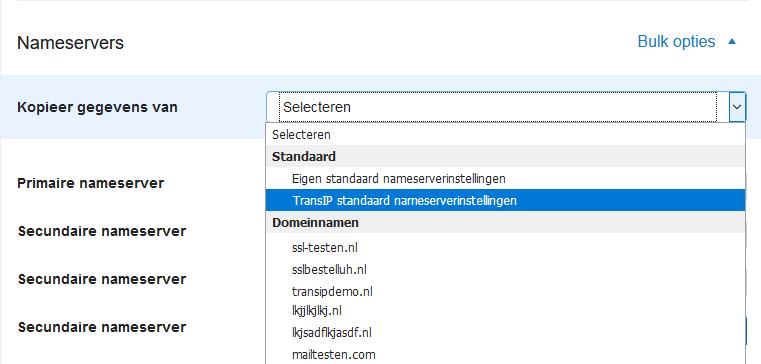 transip standaard nameservers
